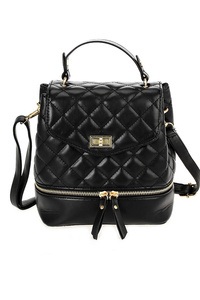 Solid Quilted Top handle Backpack With Shoulder Strap