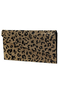Flap Over Small Textured And Stoned Flap Over Clutch With Chain Strap