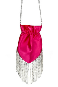 Satin Crystal Fringe Crossbody Pouch