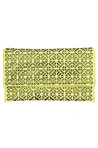 Solid Laser Cut Flap Over Clutch With Shoulder Strap