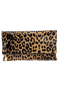Leopard Print Flap Over Clutch With Shoulder Strap
