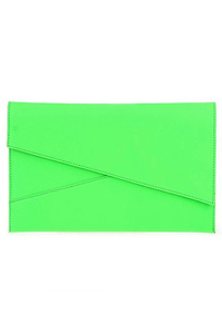 Solid Angled Flap Flat Neon Clutch WIth Shoulder Strap