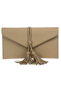 Solid Fringe Tassels Flap Over Clutch Bag