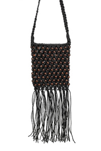 Solid Crochet Weaved With Fringe Messenger Bag