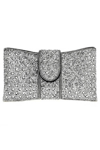 All Over Rhinestones Flap Over RIbbon Shape Evening Bag