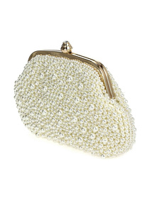 Pearl Framed Twist Lock Evening Bag With Shoulder Strap