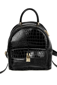 Solid Crocodile Top handle Backpack With Shoulder Strap