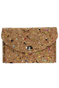 Envelope Turn Lock Cork Clutch With Chain Strap
