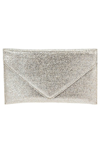 Metallic Flap Over Envelope Clutch With Chain Strap