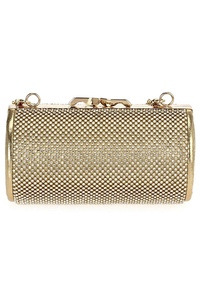 Solid Rhinestone Clap Over Chain Strap Evening Clutch