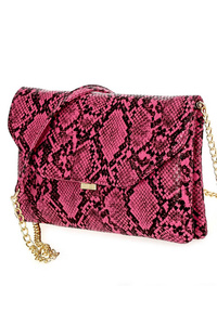 Snake Skin Print Flap Over Clutch With Shoulder Strap