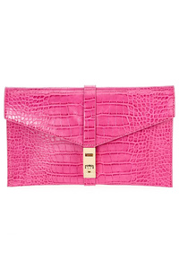 Solid Crocodile Embossed Clutch With Shoulder Strap
