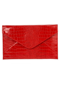 Solid Crocodile Embossed Flat Envelope Clutch With Chain Strap