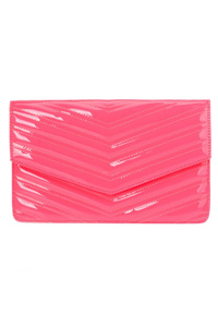Solid Quilted Chevron Envelope With Chain Strap