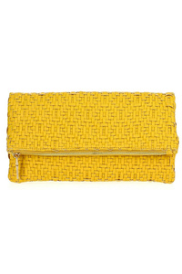 Solid Braided Fold Over Clutch With Shoulder Strap