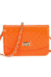 Solid Quilted Patent Leather Messenger With Chain Strap