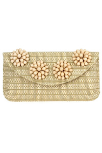 Solid Straw With Flower Beads Flap Over Clutch With Chain Strap