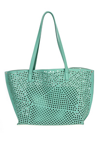 Two In One Solid Laser Cut Tote With Pouch Bag