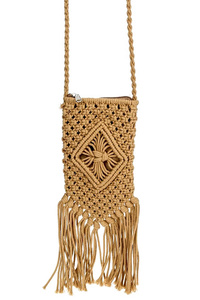 Solid Crochet With Tassels Messenger Bag