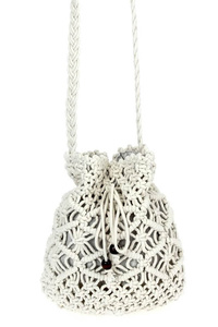 Solid Crochet Drawstring Messenger Bag
