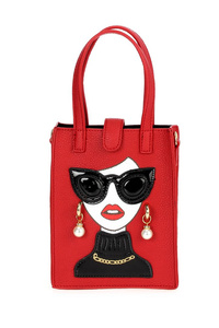 Small Sunglass Girl Top Handle Tote Bag With Shoulder Strap