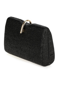 Straw Clip On Clutch With Chain Strap