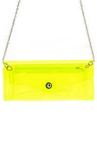 Clear Flap Over Clutch Bag With Chain Strap