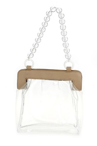 Clear And Solid Magnetic Closure Ball Handle With Chain Strap