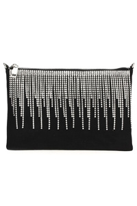 Zip Rhinestones Fringe Clutch With Chain Strap
