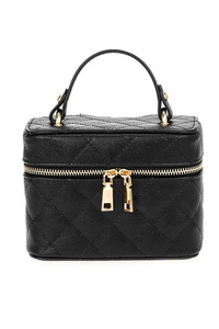 Solid Quilted Box Bag With Top Handle And Strap