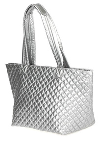 Solid Quilted Double Handle Tote Bag