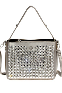 Solid Front Rhinestones Zipper Top Tote Bag With Shoulder Strap