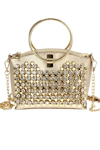 Solid Front Rhinestones Ring Handle Chain Strap With Satchel Bag