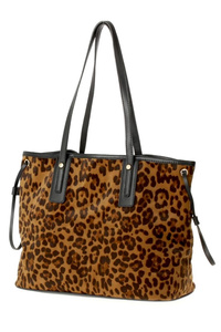 Leopard Print Two In One Tote And Inner Pouch Bag With Double Handles