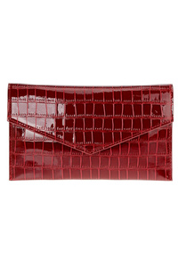 Solid Envelope Flap Over Crocodile Clutch With Chain Strap