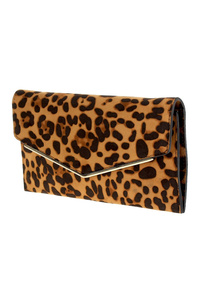 Metal Edged Flap Over Envelope Clutch With Strap