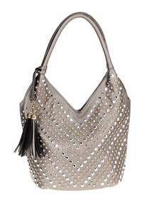 Solid Front All Over Rhinestones With Tassel Hobo Bag