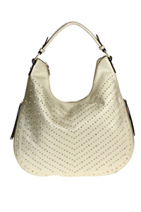 Solid Front All Over Rhinestones With Zipper Pull Hobo Bag