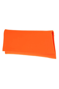 Solid Neon Long Flap Over Clutch With Chain Strap