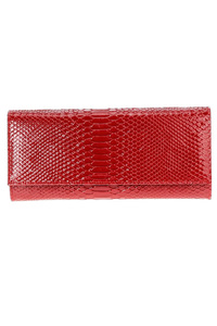 Solid Snake Skin Flap Over Clutch With Chain Strap