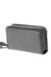 Restocked Double Chain Edged Zip Around Tassel Pull Wallet