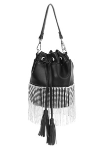Solid Rhinestones Fringe Bucket Style Bag With Handle