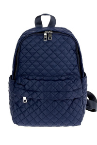 Quilted Nylon Front Zipper Backpack
