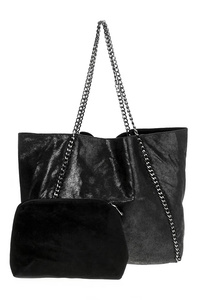 Solid Chain Accented Tote Bag With Chain Strap And Pouch