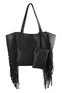Solid Fringe Slim Handle Tote Bag With Pouch