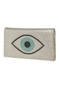 Eye Accented Rhinestones Flap Over Clutch With Chain Strap