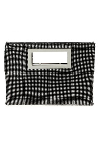 All Over Rhinestones Mesh Cut Out Handle Clutch With Chain Strap