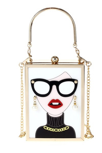 Clear Lucit Lady With Sunglasses Box Bag With Chain Strap
