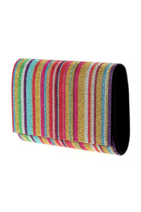 Multi Rainbow Baguette Flap Over Clutch