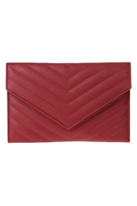 Solid Chevron Stitched Flap Over Clutch With Chain Strap